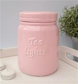 Storage Jar Tea Lights  -Pink-